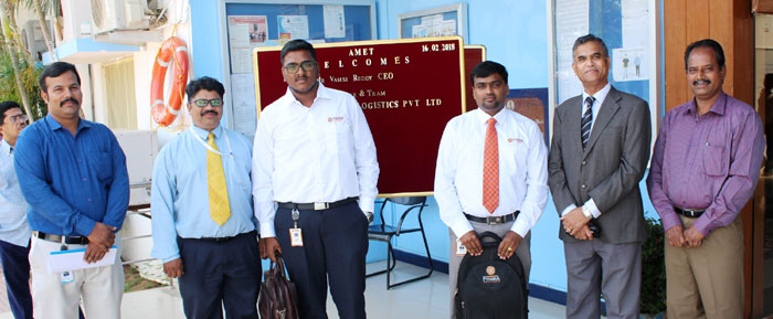 Mr. Vamsi Reddy, CEO and Mr. S.Sankar & Team M/s. Fynsea Lines & Logistics Pvt. Ltd. visited to recruit our students from AMET Business School, on 16 Feb 2018