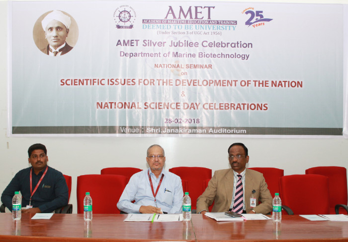 National Seminar on Scientific issues for the development of the Nation & National Science Day Celebrations organized by Dept. of Marine Biotechnology  held at Shri. Janakiraman Auditorium, on 28 Feb 2018