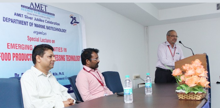 Special Lecture on 'Emerging Opportunities in Marine Food Production and Processing Technology' delivered by Dr. Edward Danish,<br> Aquaculture and Food Safety Management organized  by Dept. of Marine Biotechnology  Expert held at DNV 2, on 15 Mar 2018