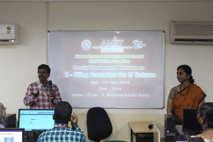 Human Resource Development Centre and Staff Welfare Committee organized Faculty Development Workshop on E-Filing Procedure for IT Returns at IT Lab II, Mahatma Gandhi Block, on 23 Apr 2019