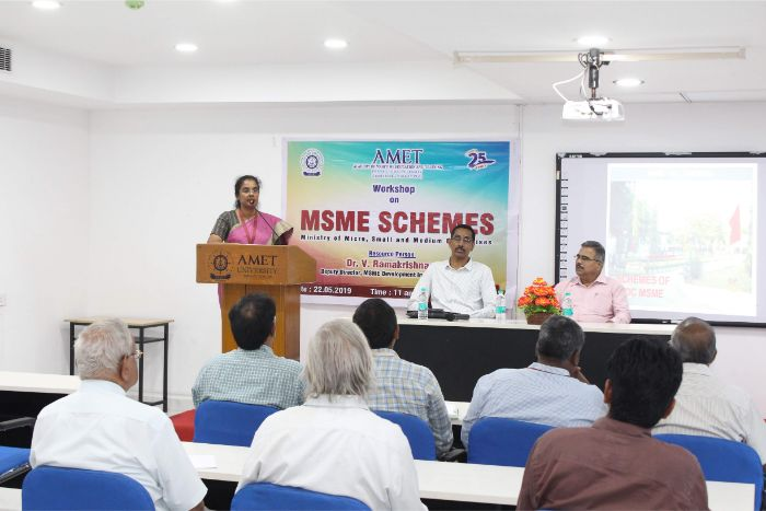 Workshop on MSME Schemes conducted by the AMET and the special lecture delivered by the resource person Dr. V. Ramakrishnan, Deputy Director, MSME Development Institute, held at DNV Hall II, on 22 May 2019