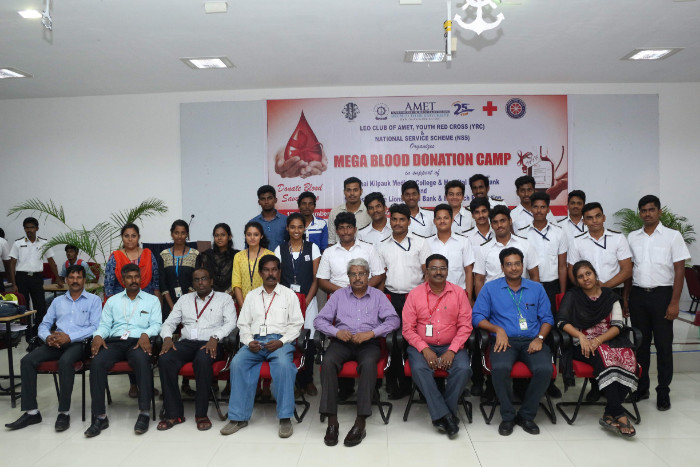 LEO Club of AMET, YRC and NSS organised MegaBlood Donation Camp in support of Chennai Kilpauk Medical College & Hospital Blood Bankand Madras Egmore Lions Blood Bank & Research Foundation held at Shri Janakiraman Auditorium, on 12 Sep 2018