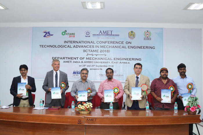 Dept. of Mechanical Engineering organized International Conference on Technological Advances in Mechanical Engineering (ICTAME 2018) jointly with AMBO University, East Africa, on 19 Sep 2018