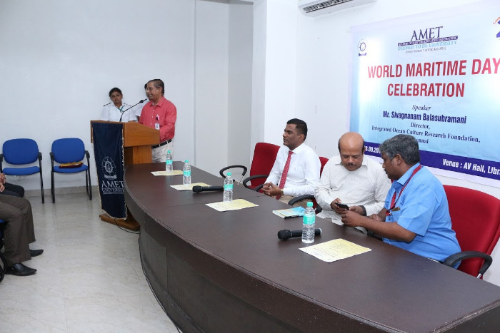 World Maritime Day Celebrated at AMET. Special lecture delivered by Mr. Sivagnanam Balasubramani, Director, Integrated Ocean Culture Research Foundation, Chennai held at AV Hall, Library, on 28 Sep 2018