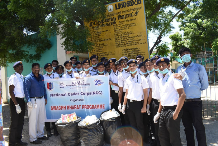 AMET NCC organized Swatch Bharat Programme at Muttukadu, on 28 Sep 2018