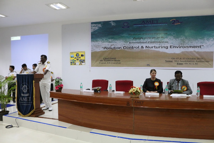 Dept. of Marine Engineering organized an International Conference on 'Pollution Control & Nurturing Environment' held at Shri Janakiraman Auditorium. Chief Guest address by Ms. Kathleen Hosie, Consul, US Consulate on 04 Oct 2018 - 05 Oct 2018