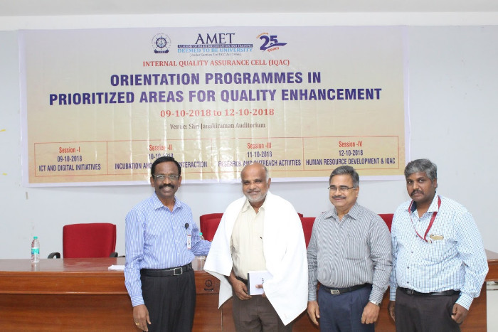 IQAC organized orientation programmes in priorized areas for quality enhancement held at Shri Janakiraman Auditorium from 09 Oct 2018 - 12 Oct 2018
