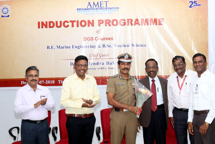 Induction Programme of DGS Courses B.E. Marine Engineering & B.Sc. Nautical Science, Chief Guest Dr. C. Sylendra Babu, IPS held at Shri Janakiraman Auditorium on 12 Jul 2018