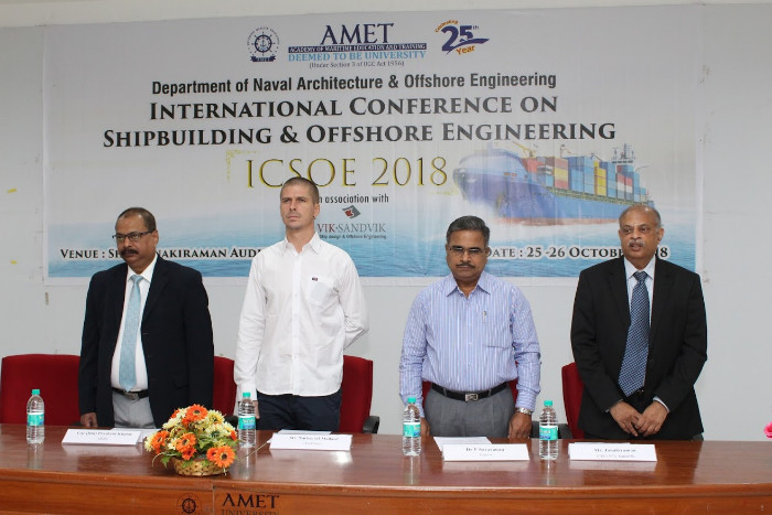 Dept. of Naval Architecture & Offshore Engineering organized ICSOE 2018 in association with M/s. Vik Sandvik at Shri Janakiraman Auditorium on, 25 Oct 2018 - 26 Oct 2018