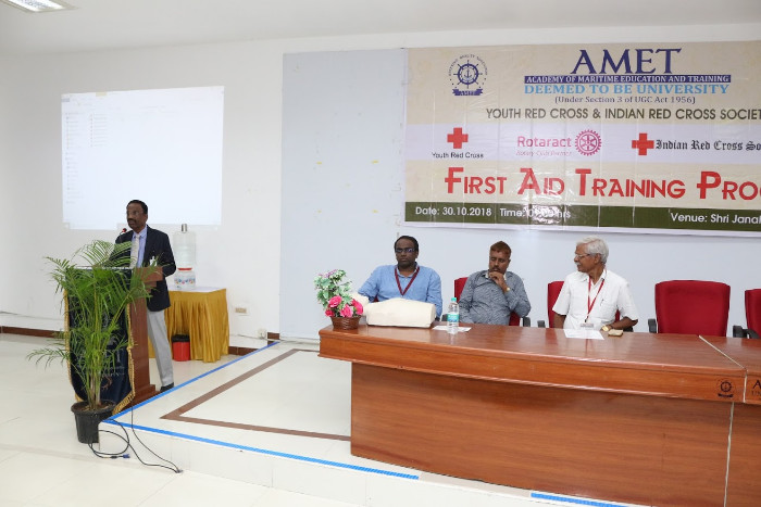 AMET Youth Red Cross organized First Aid Training Program in association with Mohan Foundation held at Shri Janakiraman Auditorium, on 30 Oct 2018