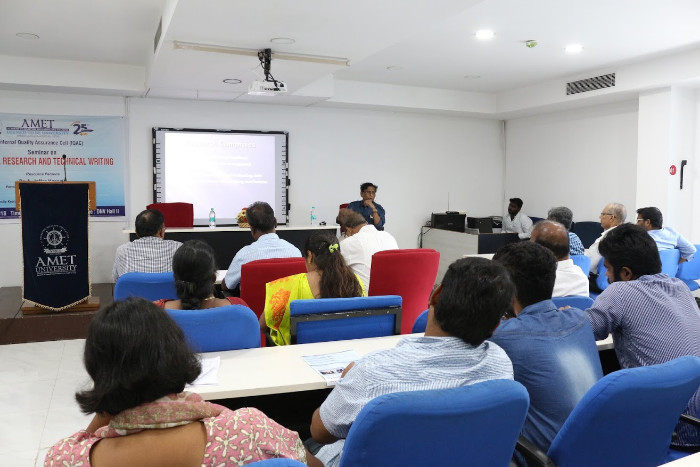 AMET Internal Quality Assurance Cell (IQAC) organized Seminar on Doctoral Research and Technical Writing held at DNV Hall I, on 09 Nov 2018