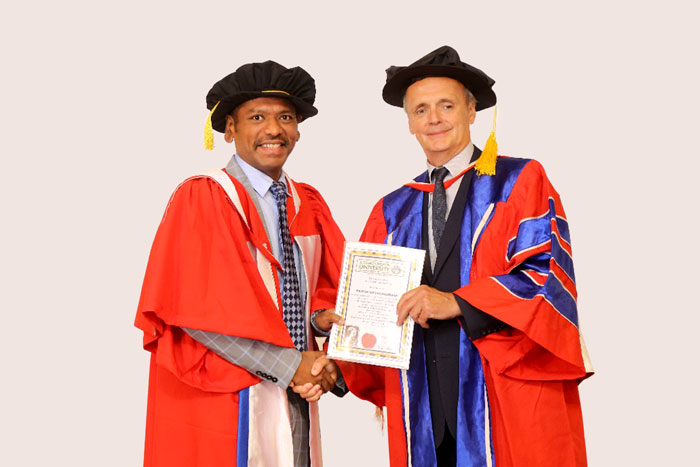 Dr. Rajesh Ramachandran, Pro-Chancellor received the Award of Doctorate Degree from Commonwealth University, United Kingdom at Arabian Courtyard Hotel, Dubai, on 19 Jul 2018