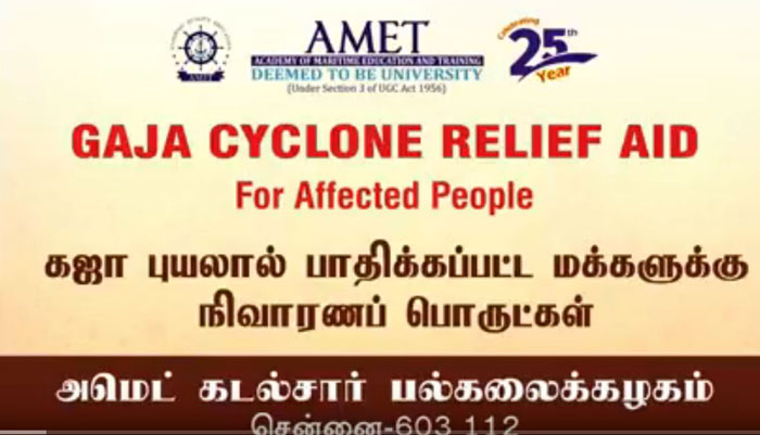 Gaja Cyclone Relief Aid for affected people by AMET on 22 Nov 2018 and 23 Nov 2018