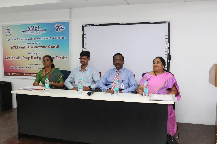 Centre for Entrepreneurship, Innovation & Incubation organized inauguration of AMET-Institution Innovation Council and Workshop on Cognitive Skills, Design Thinking and Critical Thinking on 27 Nov 2018 at DNV Hall II