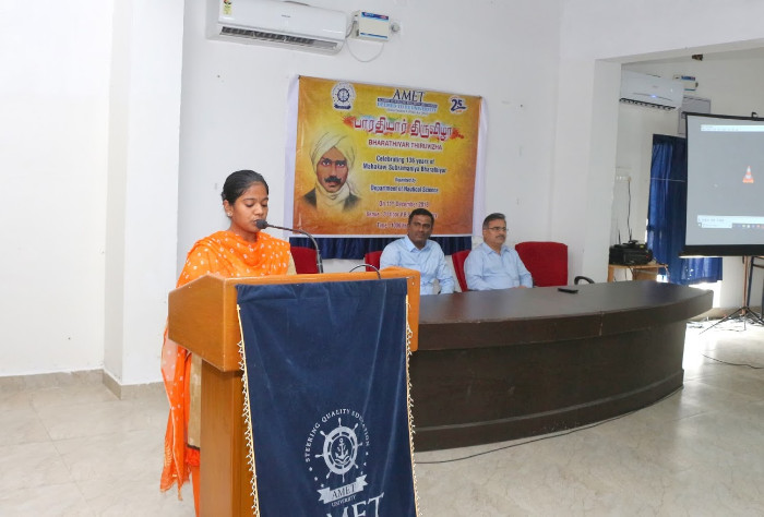 Dept. of Nautical Science organized Bharathiyar Thiruvizha - Celebrating 136 years of Mahakavi Subramaniya Bharathiyar  on 11 Dec 2018 at V.B.S. Rajan Library Seminar Hall.
