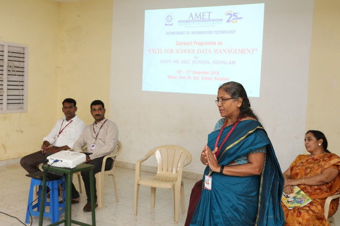 Dept. of Information Technology organized Outreach Programme on 'Excel for School Data Management' for Govt. Hr. Sec. School, Kovalam on 20th and 21st Dec 2018
