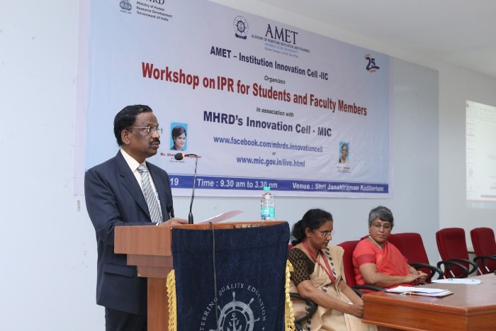 AMET Institution Innovation Cell(ICC) organised a workshop on IPR for Students and Faculty Members in assoication with MHRD's Innovation Cell(MIC) held at Shri Janakiraman Auditorium on 10 Jan 2019