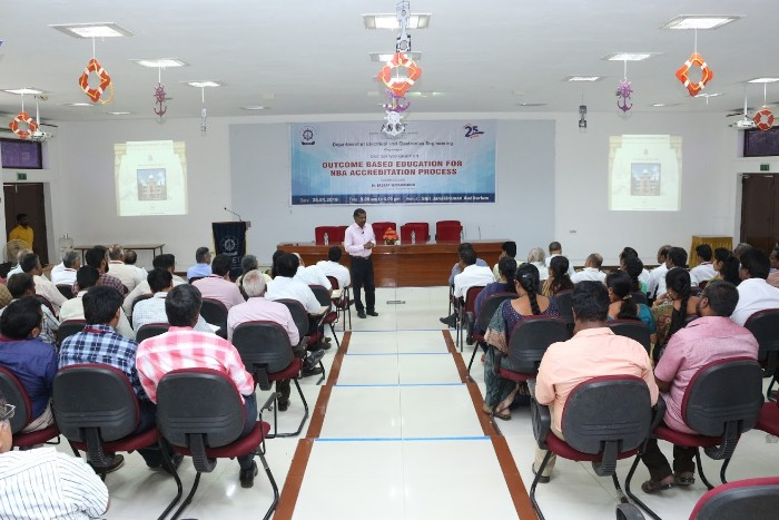 Dept. of EEE organised one day workshop on Outcome Based Education For NBA Accreditation Process by Dr. Baskar Subramanian, Thiagarajar College of Engineering, Madurai on 28 Jan 2019 at Shri Janakiraman Auditorium