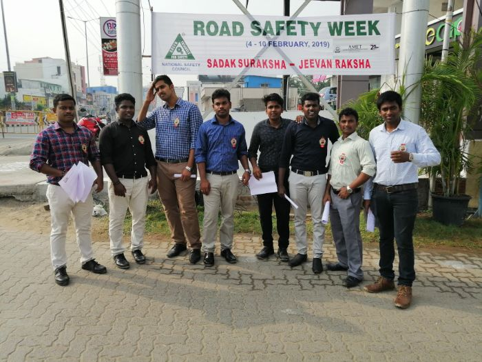 Road Safety Awareness Notice issued by the AMET students at ECR, Chennai, on 06 Feb 2019