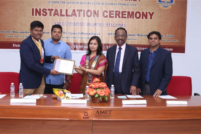 Rotaract Club of AMET organized Installation Ceremony at Shri Janakiraman Auditorium, on 07 Feb 2019