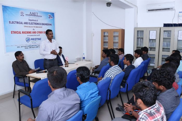 Department of Electrical and Electronics Engineering organized two days workshop on Ethical Hacking and Cyber Security in association with Pristine Infosolutions, Mumbai held at Library Seminar Hall, on 22 Feb 2019