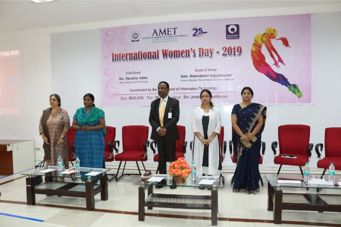 AMET organized International Women's Day 2019 at Shri Janakiraman Auditorium, on 08 Mar 2019