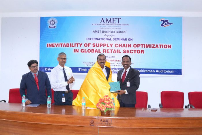 AMET Business School organized International Seminar on Inevitability of Supply Chain Optimization in Global Retail Sector held at Shri Janakiraman Auditorium, on 13 Mar 2019