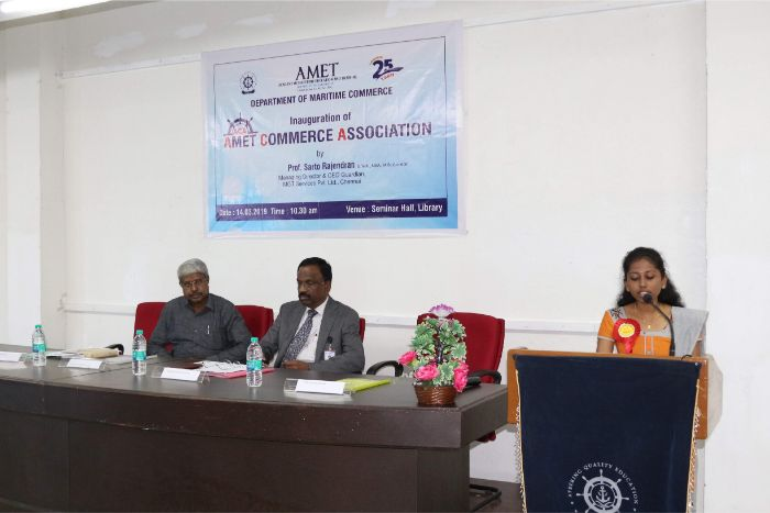 Department of Maritime Commerce organized inauguration of AMET Commerce Association held at Shri Janakiraman Auditorium, on 14 Mar 2019