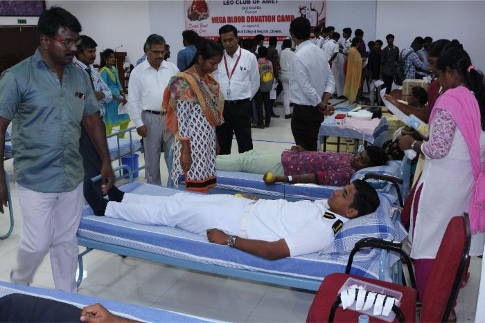 LEO Club of AMET organized a Mega Blood Donation Camp in support of Kilpauk Medical College & Hospital, Chennai held at Shri Janakiraman auditorium, on 18 Mar 2019