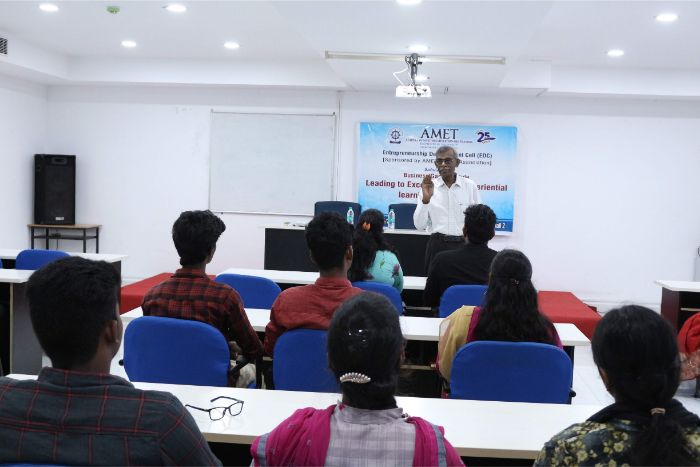 Entrepreneurship Development Cell (EDC) organized with the sponsor of AMET Alumni Association introduced Business Game Module - Leading to Excellence - An experiential learning programme held at DNV hall II, on 20 Mar 2019