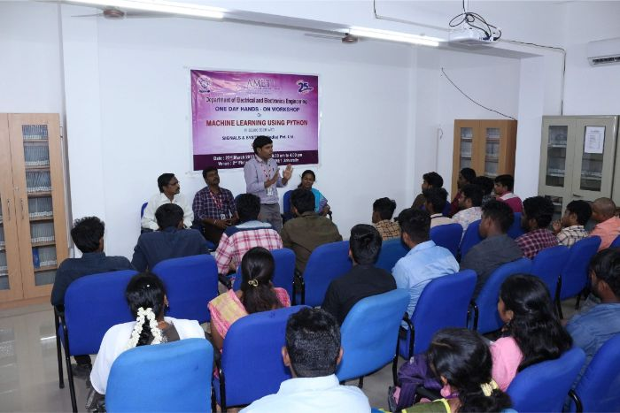 Department of Electrical and Electronics Engineering organized one day Hands-on workshop on Machine Learning Using Python in association with Signals & Systems (India) Pvt. Ltd. held at Library Seminar Hall,<br> on 22 Mar 2019