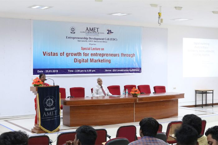 Entrepreneurship Development Cell (EDC) organised with the sponsor of AMET Alumni Association a special lecture on Vistas of growth for entrepreneurs through Digital Marketing held at Shri Janakiraman Auditorium, on 25 Mar 2019