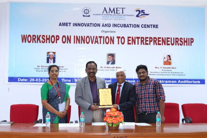 AMET Innovation and Incubation Centre organized workshop on Innovation to Entrepreneurs held at Shri Janakiraman Auditorium, on 26 Mar 2019