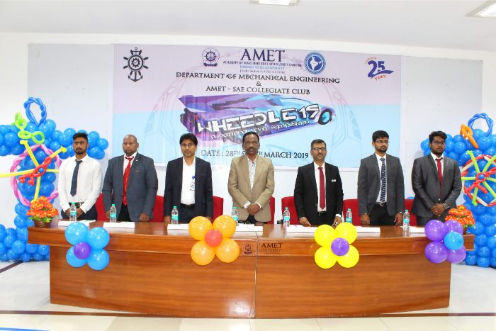 Department of Mechanical Engineering and AMET SAE Collegiate Club organized a National Level Symposium WHEEDLE'19 at Shri Janakiraman Auditorium, on 28 Mar 2019