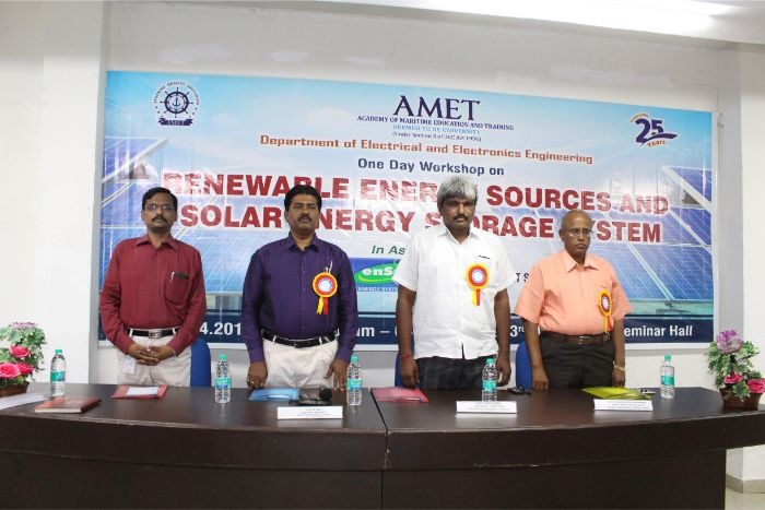 Department of Electrical and Electronics Engineering organized one day workshop on Renewable Energy Sources and Solar Energy Storage System in association with Ensun Energy System Pvt. Ltd. and IEEE AMET student Branch at Library Seminar Hall, on 08 Apr 2019