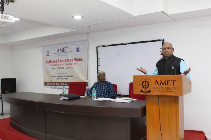 AMET in association with Central Vigilance Commission, Govt. of India organized Vigilance Awareness Week from 23rd October to 2nd November 2019 in the theme of Integrity - A way of Life held at DNV Hall II on 01 Nov 2019