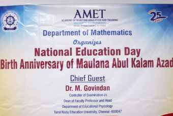 Department of Mathematics organized National Education Day - Birth Anniversary of Maulana Abul Kalam Azad, on 11 Nov 2019