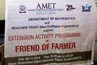 Department of Mathematics and Reacher Trust (Non Profitable Organization) organized Extension Activity Programme on Friend of Farmer held at Government Higher Secondary School, Kovalam, on 11 Nov 2019