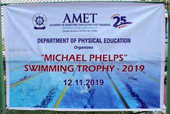 Department of Physical Education organized inter-departmental competition 'Michael Phelps' Swimming Trophy - 2019 at AMET Swimming Pool, on 12 Nov 2019