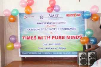 Department of Mathematics organized Community Activity Programme on Times with Pure Minds at Little Hearts Home for Mentally Challenged, Panaiyur, Chennai, on 14 Nov 2019