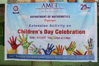 Department of Mathematics organized Extension Activity on Children's Day Celebration at Panchayat Union Middle School, Kanathur, Reddykuppam Colony, Chennai, on 14 Nov 2019