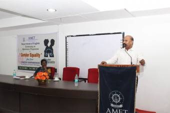 Department of English conducted an awareness programme on Gender Equality held at DNV Hall II, on 15 Nov 2019. <br> Mr. Ganesa Subramanian, Founder & Director of Ganesh's IAS Academy participated as Chief guest.
