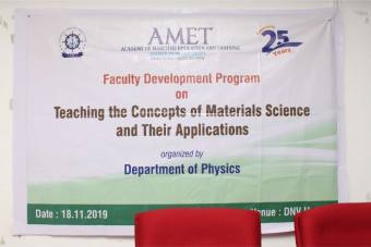 Department of Physics organized Faculty Development Program on Teaching the Concepts of Materials Science and Their Applications held at DNV Hall II, on 18 Nov 2019