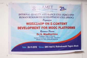 Internal Quality Assurance Cell (IQAC) and Human Resources Development Cell (HRDC) organised workshop on E-Content Development for MOOC Platforms at DNV Hall II, on 26 Nov 2019.<br>Special address delivered by the resource person Dr. V. Madhurima, Professor, Dept. of Physics, Central University of Tamil Nadu, Tiruvarur (Mentor for UGC-Swayam MOOCs).