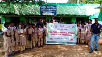 AMET Eco-Club organized Free Tree and Herbal Sapling Plantation Programme in association with Save Nature Youth Association at Panchayath Union Govt. Middle School, Kanathur, on 29 Nov 2019