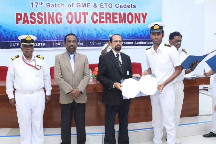 17<sup>th</sup> Batch of GME & ETO cadets passing out Ceremony held at Shri Janakiraman Auditorium, on 13 Dec 2019