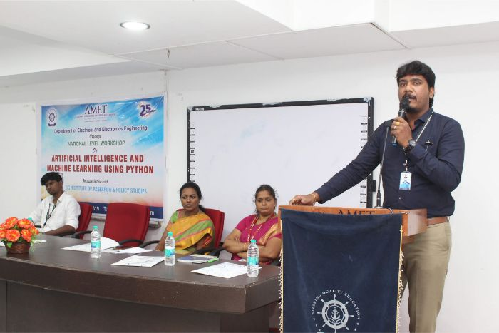 Department of EEE organized<br> National Level Workshop on Artificial Intelligence and Machine Learning Using Python in association with 3G Institute of Research & Policy Studies held at Shri Janakiraman Auditorium, on 17 Dec 2019