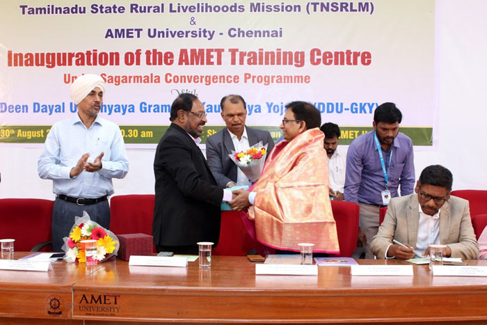 TNSRLM and AMET University inaugurated AMET Training Centre under Sagarmala Convergence Programme with Deen Dayal Upadhyaya Grameen