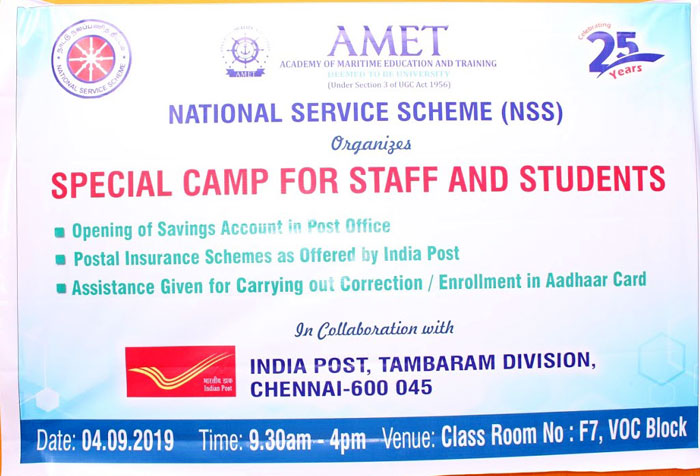 AMET National Service Scheme (NSS) oraganized Special Camp for Staff and Students in collaboration with India Post, Tambaram Division, Chennai at VOC Block, on 04 Sep 2019