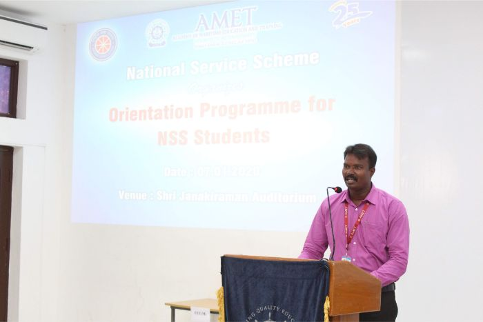 Orientation Programme for NSS Students, organized by NSS of AMET, on 07 Jan 2020